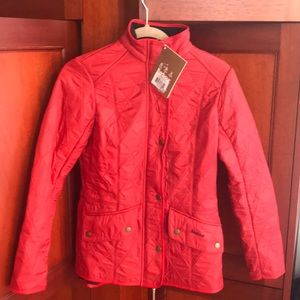 Barbour NWT Sz 6 Red Quilted fleece lined Jacket
